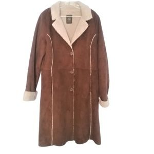 Old Navy Faux Suede Sherpa Lined Long Coat Size XL